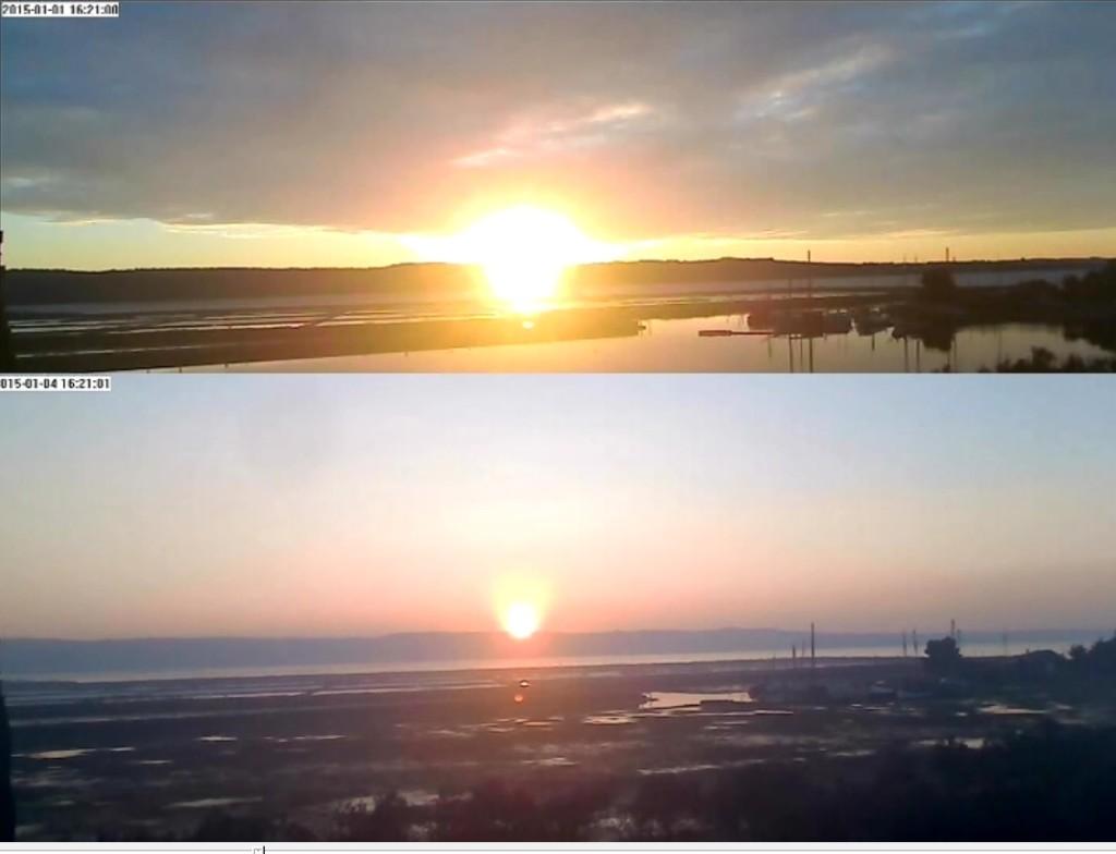 seča dva različita sunca