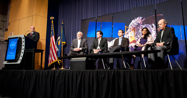 Astrophysicists gathered at a press conference at NASA Headquarters to discuss findings of black holes in the early universe on Wednesday, June 15, 2011 in Washington.  From left are:  Trent Perroto, NASA Public Affairs Officer; Wilt Sanders, Chandra Program Scientist at NASA Headquarters; Ezequiel Treister, astrophysicist, Institute for Astronomy at the University of Hawaii at Manoa; Kevin Schawinski, astrophysicist, Yale University; Priyamvada Natarajan, astrophysicist, Yale University and Mitch Begelman, Professor, Department of Astrophysical and Planetary Sciences, University of Colorado Boulder.  Photo Credit:  (NASA/Carla Cioffi)